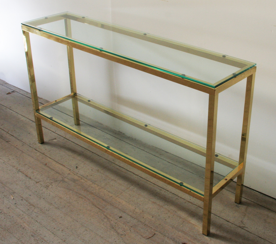 A Chic 1970u0027s Brass And Glass Console Table
