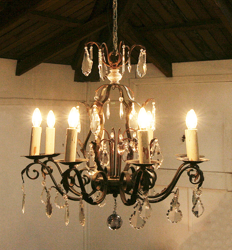 French Wrought Iron And Crystal, Wrought Iron Chandelier Nz