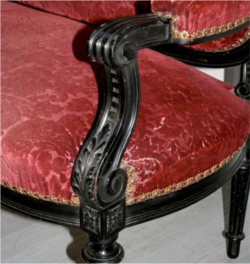 Ebonised Louis 16 Style Napoleon III Settee