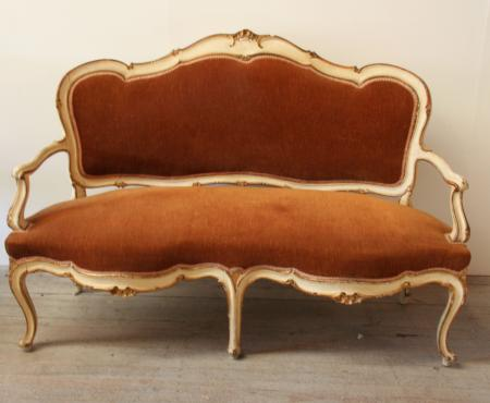 Italian Serpentine Painted and Gilt Settee