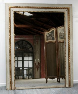 Large French Louis 16 paint and gilt feature mirror