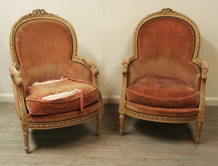 Pair Of Louis 16 Style Painted Bergères