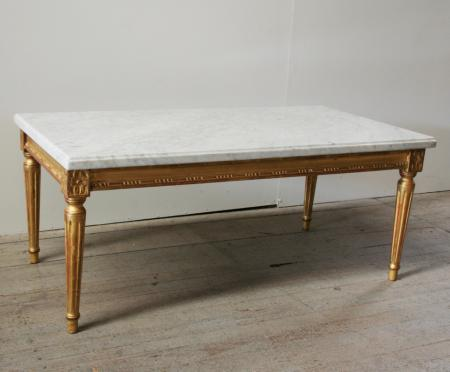 Louis 16 Style Gilt and Marble Coffee Table