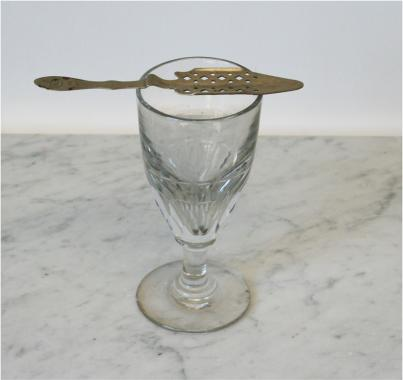 19th Century Absinthe Glass and Spoon