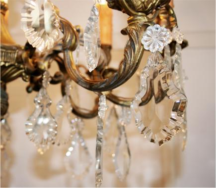 French Brass and Crystal Chandelier