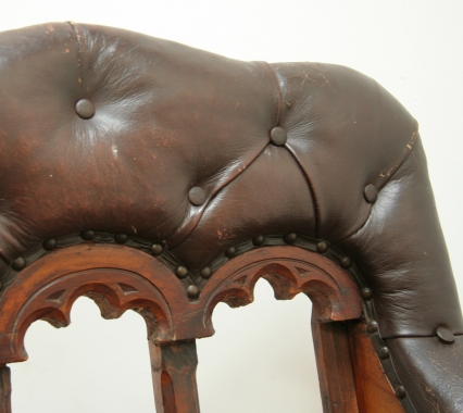 Renaissance Revival Leather Armchair