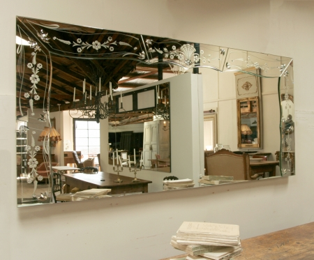 Large And Long Venetian Glass Mirror