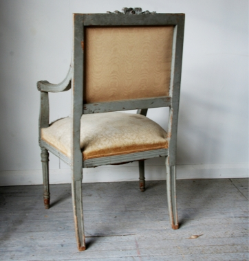 French Louis 16 Style Painted Fauteuil
