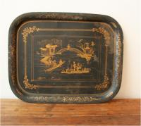Large French Tôle Chinoiserie Tray