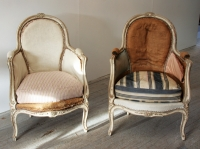 Pair of Petite Louis 15 Style Painted Bergères