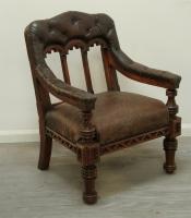 Renaissance Revival Leather Armchair